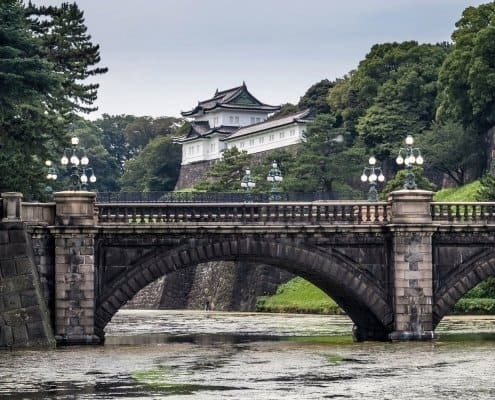 """Nijubashi Bridge (literally """"double bridge"""") is one of the most famous spots of the Imperial Palace."""