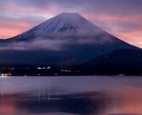 Morning sunrise on Mount Fuji in Yamanashi
